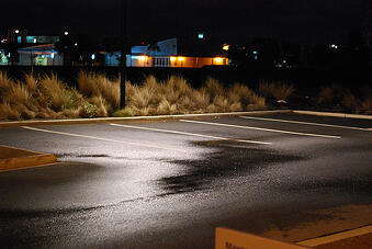 outdoor LED landscape lighting can make parking lots and stairwells feel safer for pedestrians