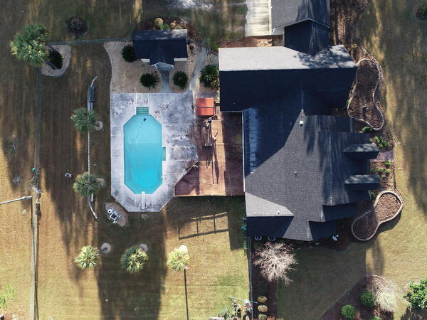 Drone image - residential landscape design in Georgia